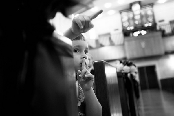 Little girl shushing at wedding in Austin, Texas
